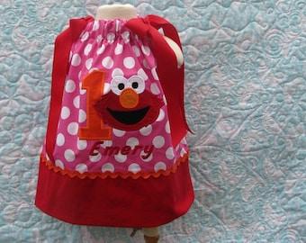 Adorable Elmo pink and orange birthday pillowcase dress, elmo birthday, 1st birthday, elmo birthday dress, 2nd birthday dress, elmo