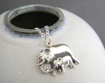 sterling silver mother and baby elephant necklace small mom child realistic animal pendant unique boho gift  mom to be charm new baby