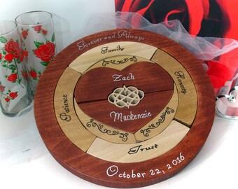Custom Designed  Personalized Unity Puzzle Ceremony Blended Family Wedding Gift Alternative Unity Puzzle Ceremony Fathers Mother's Day Gift