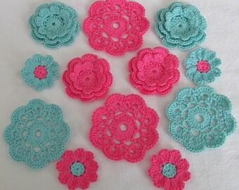 Crochet Flower Appliques, Embellishments  - set of 12, Candy Pink, Aqua