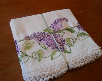 Set of vintage crocheted Lilac  pillowcases