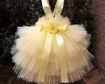 PALE YELLOW RUFFLES - Yellow Tutu Dress - Flower Girl Gown - Pageant Wear - First Birthday Dress - Pale Yellow Tutu Dress - Baby Tutu -