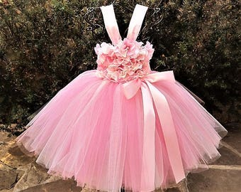 PINK IVORY FLOWERS - Pink Tutu Dress  -Flower Girl Gown - Birthday Dress - Pageant Dress - Baptism Gown - Christening Dress - Baby Gifts