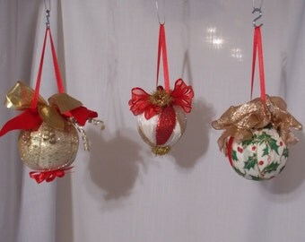 Ribbons And Bows Ornaments, Gold and Silvery and Stunning Red Ribbon ornaments