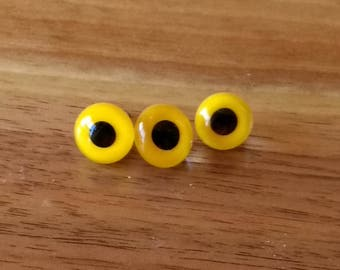 Small Vintage Glass Animal Fish Eyes 3 yellow black glass eyes