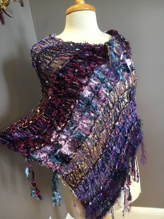 Hand knit fringed poncho, Mixed Berries, Wearable art, Fringed Poncho, Purple shawl, Blue Purple Poncho, Knit sweater, wraps, boho, tribal