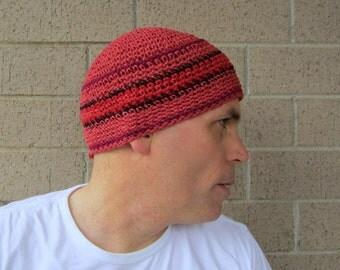 men's hemp kufi/ serrano orange stripe crochet