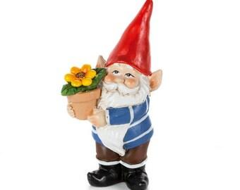 Gnome-Miniature Garden gnome-Sunflower pot Resin gnome-fairy garden decor-Terrarium supplies