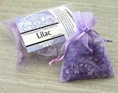 Lilac Sachets, Aroma beads, set of 2 highly fragranced organza bag sachets, scented sachet