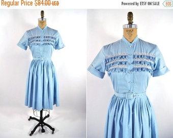 "50% OFF SALE // 1960s shirt dress | baby blue sweet shirt dress | vintage 60s dress | W 24"" Xs"