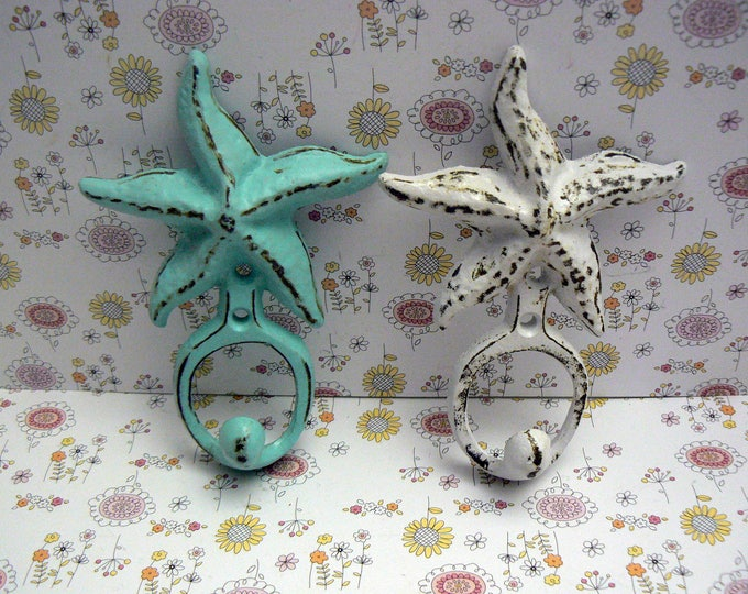 Starfish Cast Iron Wall Hook Set of 2 Blue White Shabby Chic Cottage Chic Beach Nautical Home Decor