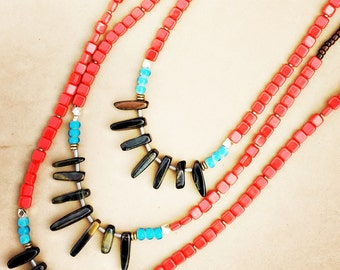 Red tile necklace with Blue Tigereye daggers