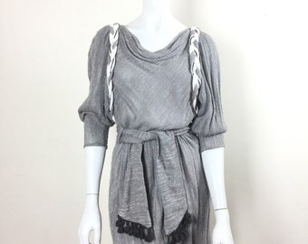 vtg  Grey BARBARA BARBARA Dolman Drape Braided Tassel Tie Waist Mini Dress S/M