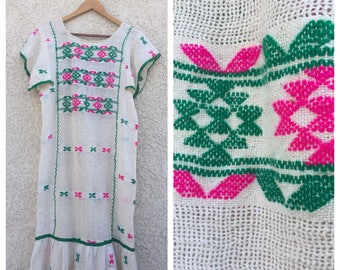 VINTAGE Mexican embroidered gauze huipil dress woven