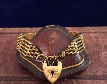 Antique 19th Century Victorian English Gold Filled Gate Bracelet with Heart Padlock Romantic Gift