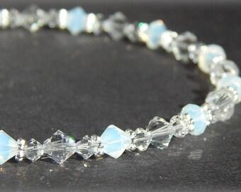 Anklet, Swarovski Crystal Anklet, Crystal Ankle Bracelet, Bridal Anklet, Wedding Anklet, Bridal Jewelry, Sterling Silver Anklet Adjustable