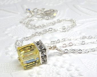 Yellow Crystal Necklace, Sterling Silver, Citrine Swarovski Cube Pendant, Bridesmaid Wedding Jewelry Gift, Handmade Spring Fashion