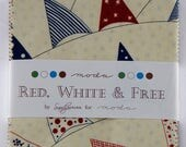 SALE Red White Free Charm Pack Fabric - Sandy Gervais - Moda