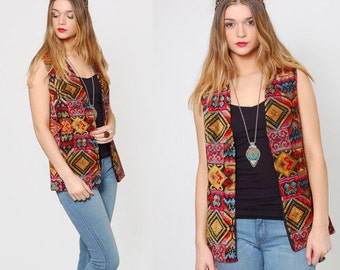 FALL SALE Vintage 70s TAPESTRY Vest Chenille Hippie Vest Psychedelic Boho Top Duster Layering Piece