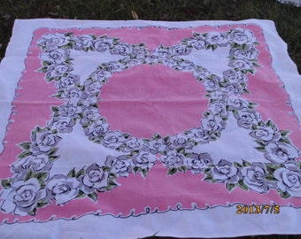 Vintage Pink Grey Cabbage Roses barkcloth Cotton Country Kitchen Retro Tablecloth