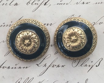 Black and Gold Clip on Earrings