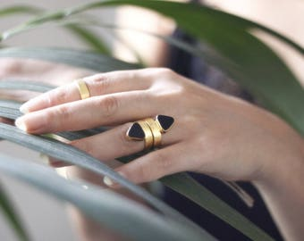 Triangle Onyx Ring-Gold Plated 925 Silver