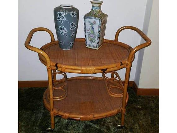 OHIO PICKUP Vintage mid century retro moderne rolling cart / wet bar / open bar / bamboo / wicker / Asian / Oriental / Floridian / Florida