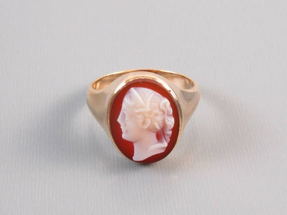 Antique Victorian hard stone sardonyx cameo 10k gold ring unisex size 9-3/4 / hand carved / late 1800s / extra heavy 8.1 gram mounting