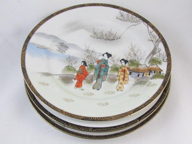 "Set of 3 vintage hand painted Ardalt Occupied Japan decorative 7-1/2"" plates / 6078 / porcelain / china / bone china / shabby chic / decor"