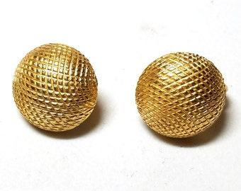 Crown Trifari Gold Tone Button Textured Vintage Clip On Earrings