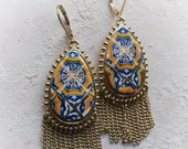 Portugal Antique Azulejo Tile Replica FRINGE Earrings from BARCELOS  BRAGA  (see photos) Largo do Paco, Braga Old Archbishops Palace