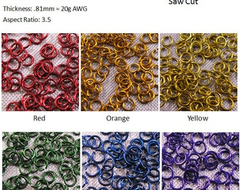 20g 7/64 inch Jump Rings Primary Colors