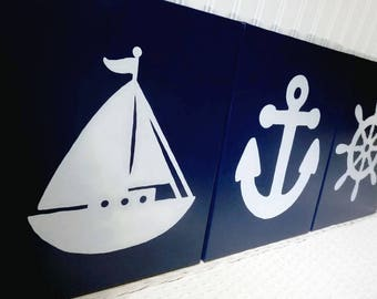 Nautical Nursery Paintings - Baby Nursery Art - Boy Nursery - Nautical Decor - Ships Wheel Anchor Sailboat Navy Canvas Hand-Painted