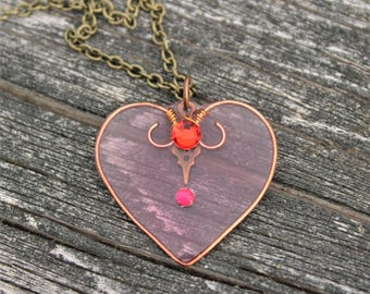 Translucent Pink Resin Heart Handmade Open Copper Bezel Pendant Necklace romanctic jewelry vintage style steampunk art noveau kawaii