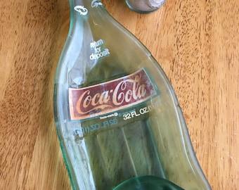 Vintage Melted Slumped Coke Cola Glass Bottle Dish