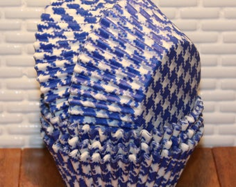Blue Houndstooth Cupcake Liners  (Qty 45) Blue Houndstooth Baking Cups, Blue Cupcake Liners, Blue Baking Cups, Blue Muffin Cups,