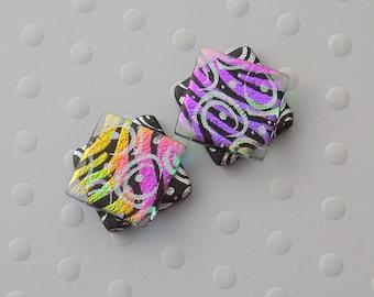 Silver Earrings, Dichroic Fused Glass Earrings, Hippie Earrings, Post Earrings, Stud Earrings, Dichroic Glass, Bohemian Earrings 1637