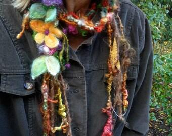 autumn art yarn scarf enchanted forest autumn faerie lariat - autumn traveling garden lariat