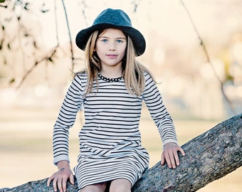 Girls Black and White Striped Knit Modern Dress. Sizes 12 months- 8years