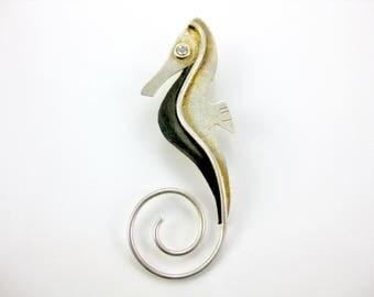 Vintage Sterling Silver Sea Horse Pendant w/ Cubic Zirconia Eye
