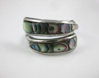 Size 7 1/2 Vintage Taxco Mexico Sterling Silver Abalone Shell Adjustable Ring Signed ADA