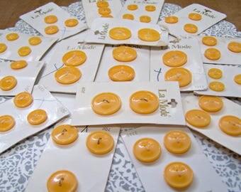 Vintage Buttons, 50, Mango, Button lot, Yellow-Orange Buttons, Plastic buttons, Button supply