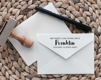 Custom Return Address Stamp | Casual Style | Wood with Handle or Self Inking