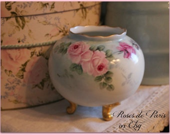SALE! vintage hand painted rose bowl vasePink ROSES  aqua  Footed  Austria