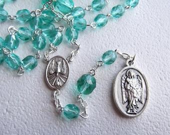 Handmade Chaplet of Saint Gabriel the Archangel Light Teal Glass Beads