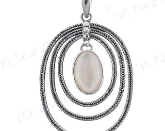 """2"""" Bali Artisan Mother Of Pearl Shell 925 Sterling Silver Pendant"""