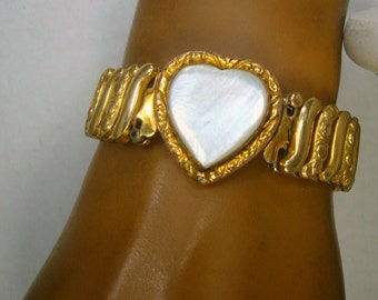 Vintage Gold Metal Stretch Bracelet,  Mother of Pearl White Heart Center, Speidel Style, Unusual Stretchband 1960
