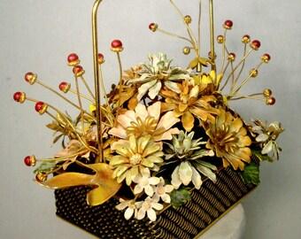 Gloria Vanderbuilt Basket of Flowers, Table Display, 1977 Vintage Enamel on Metal, Pastel Dusty Rose, Baby Blue, Cream, Pink, Red and Gold