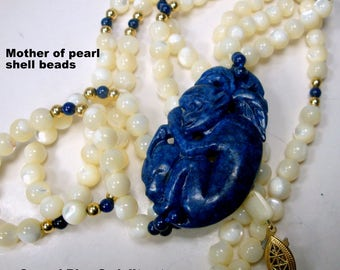 Chinese Monkey Holding Longevity Peach as Stone Carved Focal for 2 Strands of Mother of Pearl Beads,  Blue Sodalite Stone w White Necklace