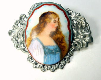 Porcelain Cameo on Silver Filigree Brooch,  Blue Peach White, OOAK My Ecochic Recycled Art Pin